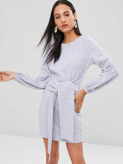 Mini Front Knot Long Sleeve Dress - Light Gray S