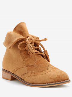 Chic Lace Up Wingtip Ankle Boots - Light Brown 37
