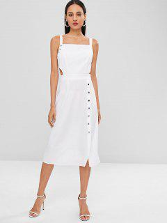 Midi Backless Cut Out Casual Dress - White L