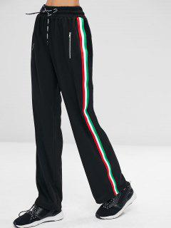 Drawstring Striped Sides Casual Pants - Black S