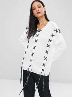 Lace Up Drop Shoulder Sweater - White S