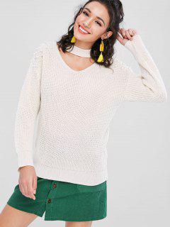 Beading Keyhole Sweater - Warm White S