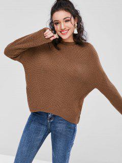 Back Lace Up Chunky Sweater - Dark Khaki M