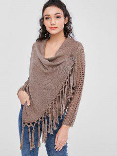 Hollow Out Tassels Cardigan - Deep Brown M