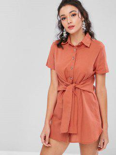 Button Up Knotted Shirt Dress - Valentine Red L