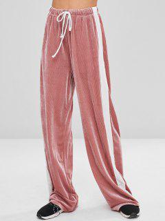 Pantalones De Pierna Ancha Con Laterales En Contraste Corduroy - Margaritas Rosas S