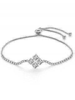 Adjustable Geometric Design Alloy Bracelet - Silver