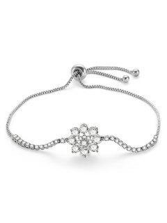 Pulsera Ajustable Con Forma De Flor De Diamantes De Imitación - Plata