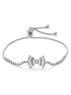 Bowknot Design Rhinestone Adjustable Bracelet - Silver