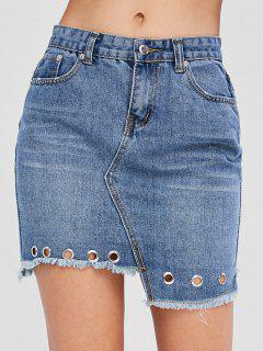 Frayed Hem Asymmetric Denim Skirt - Denim Dark Blue M