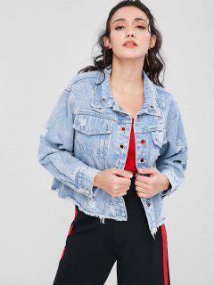Ripped Grommet Denim Jacket - Denim Blue S