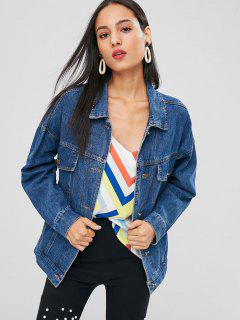 Button Up Faux Pockets Denim Jacket - Denim Blue L