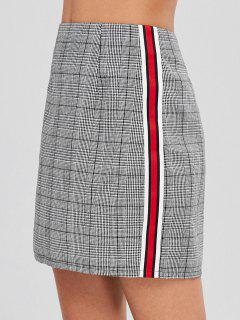 ZAFUL Mini Contrast Plaid High Waisted Skirt - Gray S