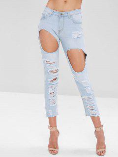 Raw Hem Distressed Jeans - Alice Blue M
