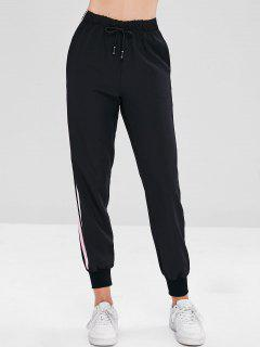 Drawstring Side Stripe Joggers Pants - Black L