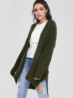 Open Front Chunky Oversized Cardigan - Army Green S