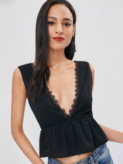 Plunging Neck Lacework Tank Top - Black M