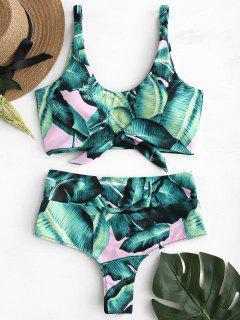 Palm Tie Vorne Hoch Taillierte Bikini-Set - Helles Rosa L