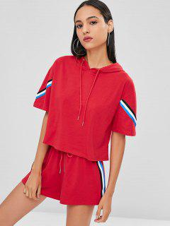 Contrast Striped Hooded Tee And Shorts Set - Love Red L