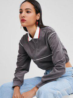 Crop Zipper Corduroy Jacket - Gray M