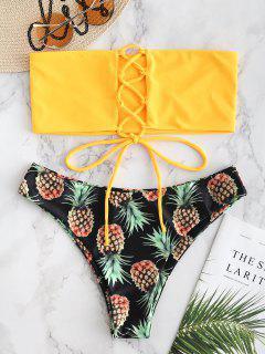 Lace-up Pineapple Bikini Set - Rubber Ducky Yellow L