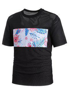 Mesh Floral Print Patch Tee - Black L