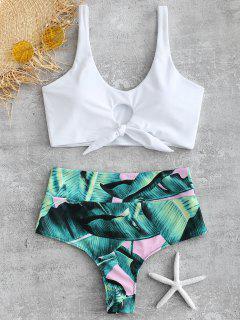 Ensemble De Bikini Palmier Noué à Taille Haute - Blanc S
