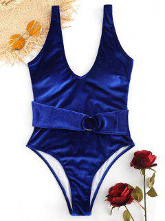 Backless Velvet High Cut Swimsuit - Denim Dark Blue L