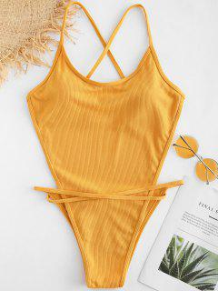 Cross Strap Knit Backless Swimsuit - Orange Gold L