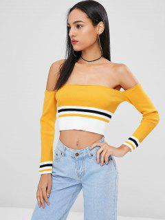 Off Shoulder Striped Crop Top - Bright Yellow M