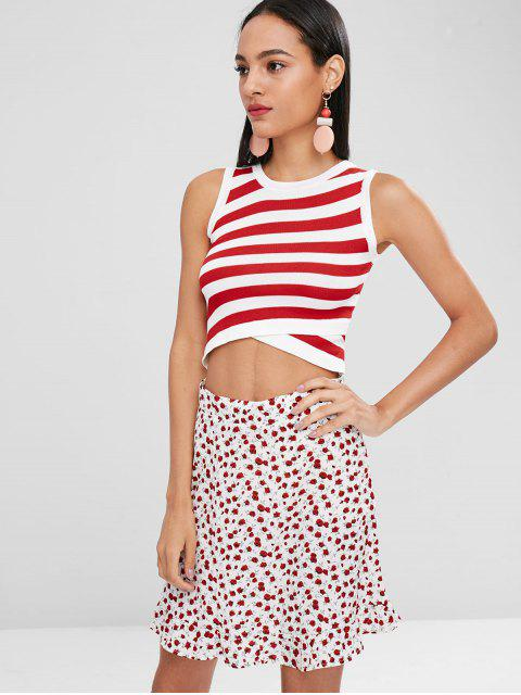 ladies Striped Asymmetric Tank Top - RED ONE SIZE Mobile