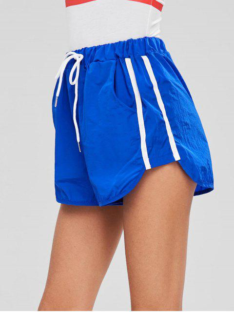 hot Striped Patched High Waist Shorts - BLUE ONE SIZE Mobile
