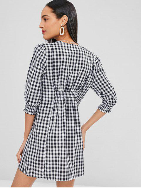 ladies Smocked Checked A Line Dress - BLACK L Mobile