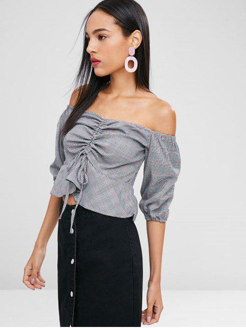 best Off Shoulder Cinched Plaid Blouse - GRAY M Mobile