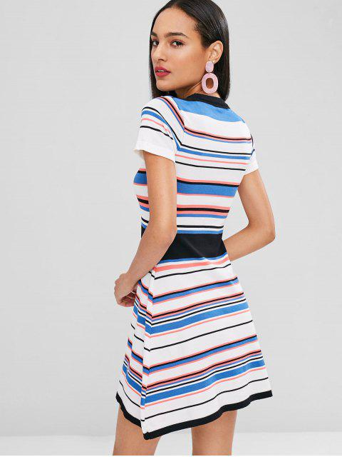 outfits A Line Striped Knitted Dress - MULTI ONE SIZE Mobile