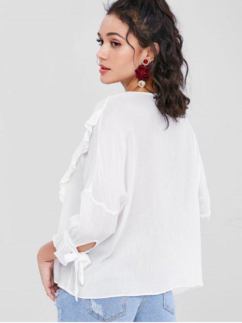 new Crochet Flower Applique Ruffle Boho Blouse - WHITE XS Mobile
