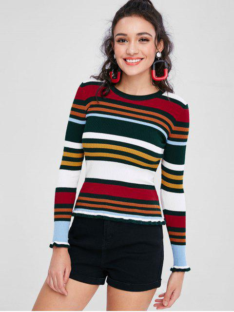 fashion Colorful Striped Ribbed Sweater - MULTI ONE SIZE Mobile