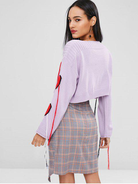 outfit Drop Shoulder Heart Graphic Fringed Sweater - MAUVE L Mobile