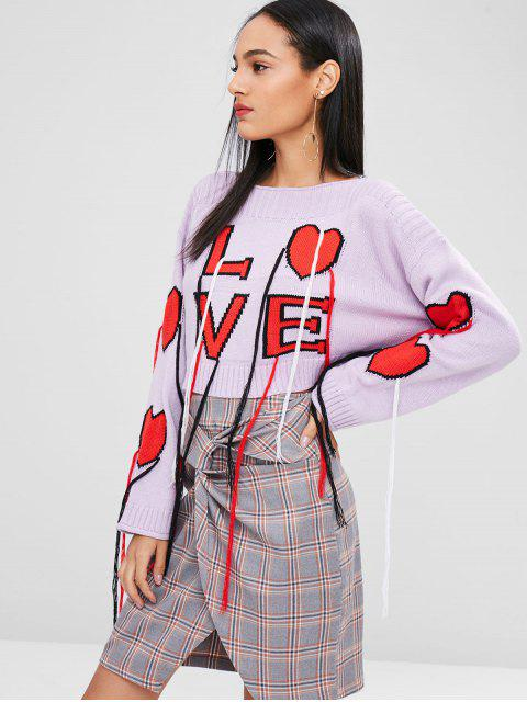 outfits Drop Shoulder Heart Graphic Fringed Sweater - MAUVE XL Mobile