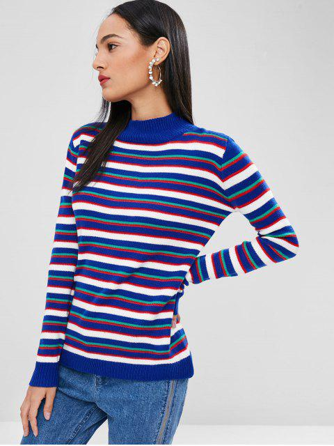 trendy ZAFUL Striped Mock Neck Sweater - BLUEBERRY BLUE S Mobile