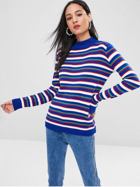 chic Striped Mock Neck Sweater - BLUEBERRY BLUE L Mobile