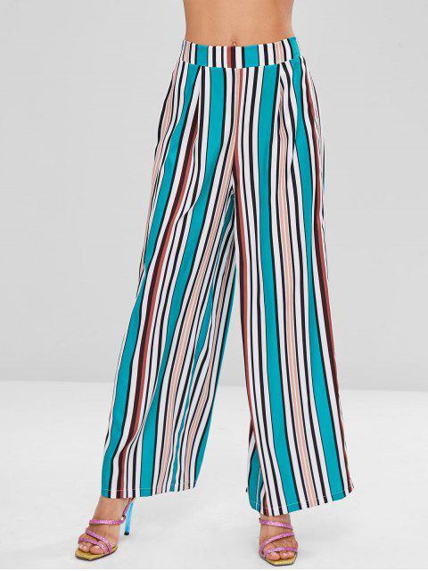 ZAFUL pantalones de pierna ancha a rayas de colores - Verde de Tortuga Marina L Mobile