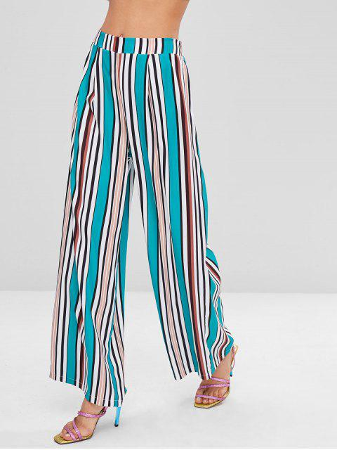 womens Colorful Striped Wide Leg Pants - SEA TURTLE GREEN L Mobile
