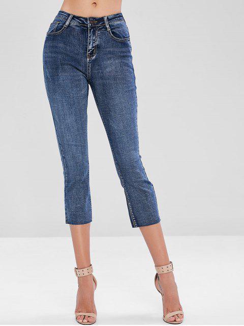 women Raw Hem Faded Boyfriend Jeans - BLUE S Mobile