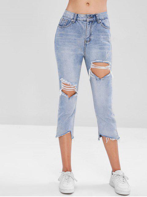 ladies Frayed Hem Cut Out Jeans - DENIM BLUE M Mobile