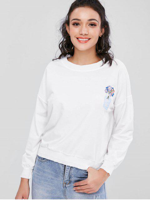 fashion Vase Floral Embroidered Relaxed Sweatshirt - WHITE ONE SIZE Mobile