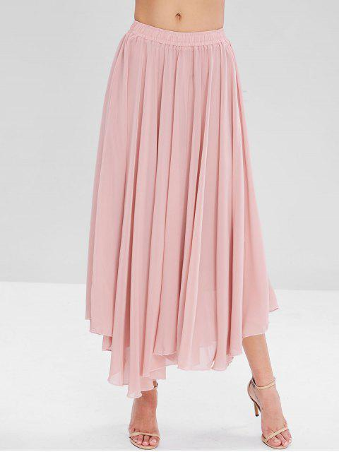 best Flowy Layered Chiffon Maxi Skirt - PINK L Mobile