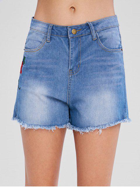 best Floral Embroidered Denim Shorts - LIGHT STEEL BLUE M Mobile