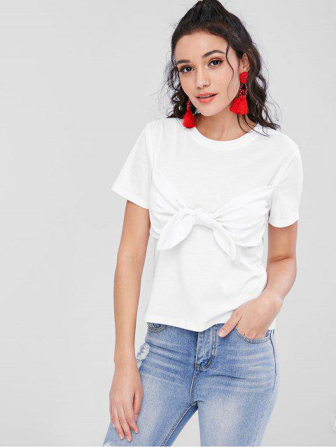 chic Bunny Tie Front T-Shirt - WHITE S Mobile