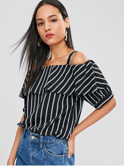womens Striped Flounce Cold Shoulder Blouse - BLACK M Mobile